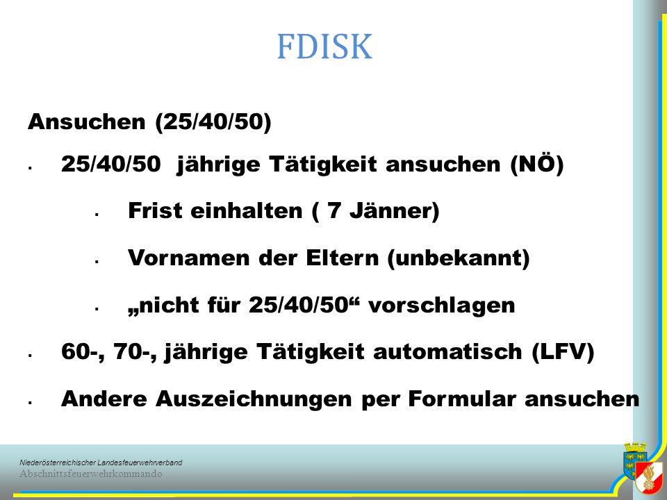 Niederösterreichischer Landesfeuerwehrverband Abschnittsfeuerwehrkommando FDISK Feuerwehr (FW) Adresse (nicht unbedingt Feuerwehrhaus) Ausgaben (Feuerwehr/Gemeinde) Bankverbindungen ( IBAN ) Erreichbarkeiten Brandmeldestellen