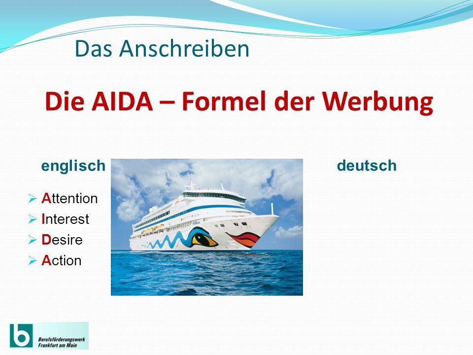 Die AIDA – Formel der Werbung englisch deutsch Attention Interest Desire Action Das Anschreiben
