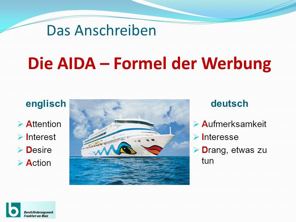 Die AIDA – Formel der Werbung englisch deutsch Attention Interest Desire Action Aufmerksamkeit Interesse Drang, etwas zu tun Das Anschreiben