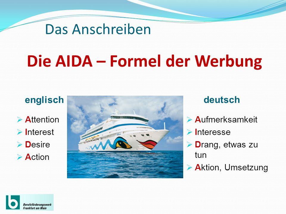 Die AIDA – Formel der Werbung englisch deutsch Attention Interest Desire Action Aufmerksamkeit Interesse Drang, etwas zu tun Aktion, Umsetzung Das Ans