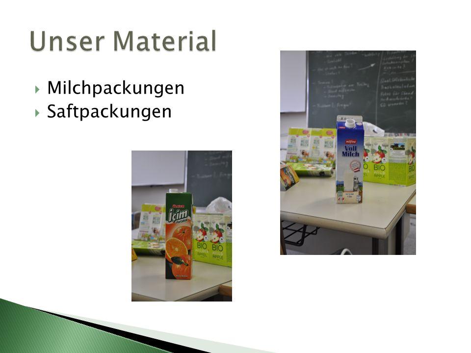 Milchpackungen Saftpackungen