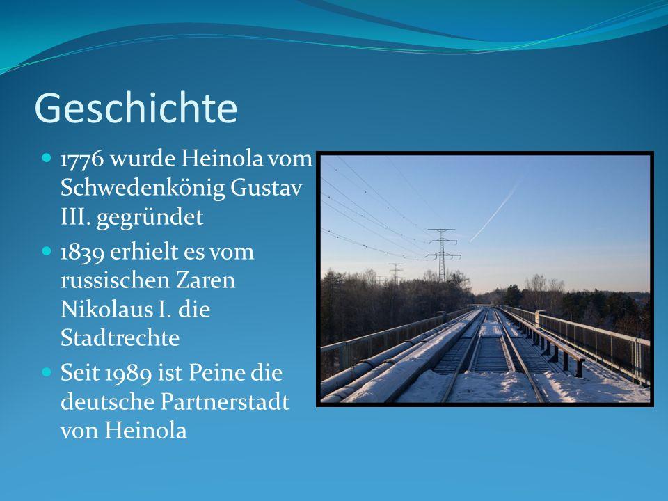 Geschichte 1776 wurde Heinola vom Schwedenkönig Gustav III. gegründet 1839 erhielt es vom russischen Zaren Nikolaus I. die Stadtrechte Seit 1989 ist P