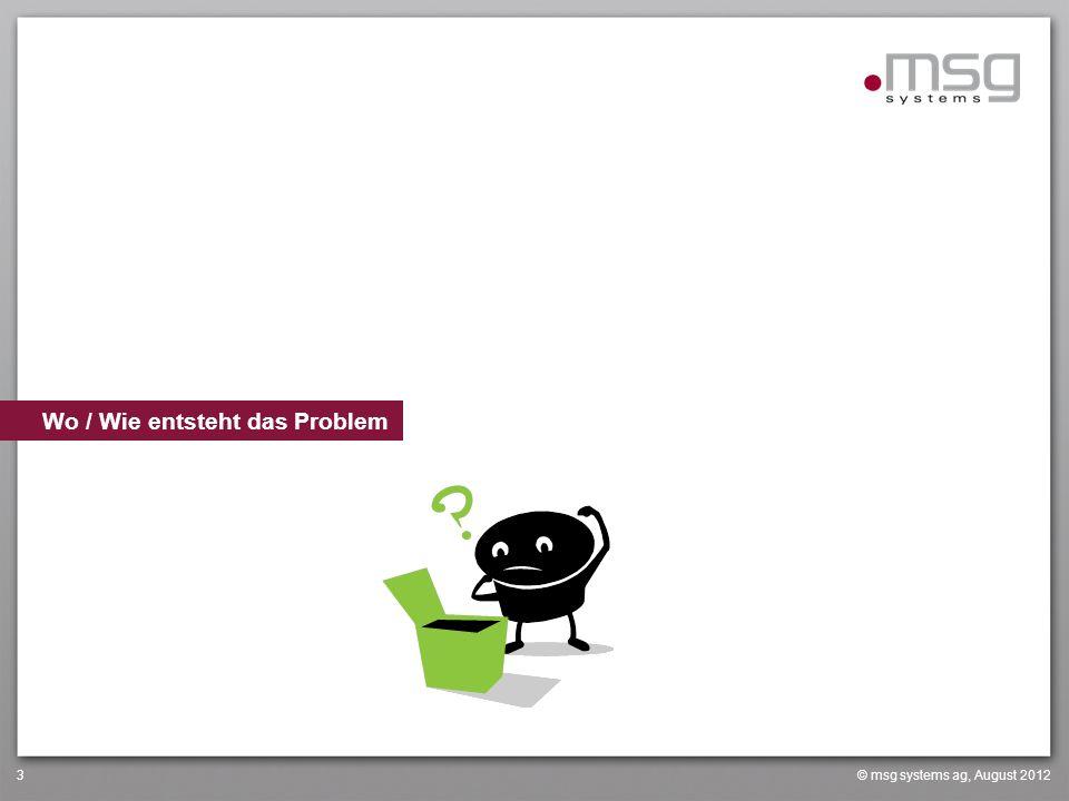 © msg systems ag, August 20123 Wo / Wie entsteht das Problem