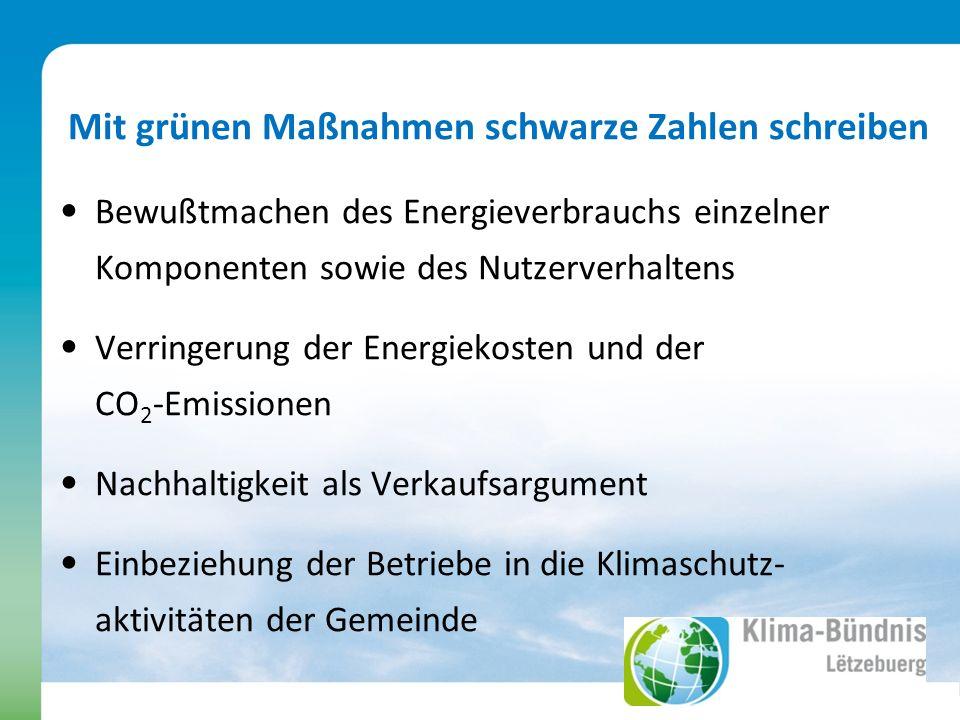 Mit grünen Maßnahmen schwarze Zahlen schreiben Bewußtmachen des Energieverbrauchs einzelner Komponenten sowie des Nutzerverhaltens Verringerung der Energiekosten und der CO 2 -Emissionen Nachhaltigkeit als Verkaufsargument Einbeziehung der Betriebe in die Klimaschutz- aktivitäten der Gemeinde