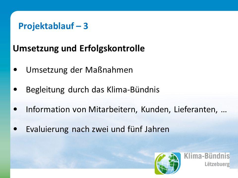 Projektablauf – 3 Umsetzung und Erfolgskontrolle Umsetzung der Maßnahmen Begleitung durch das Klima-Bündnis Information von Mitarbeitern, Kunden, Lieferanten, … Evaluierung nach zwei und fünf Jahren