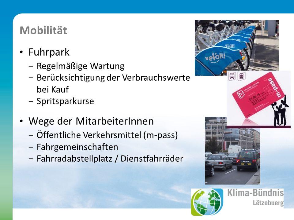 Mobilität Fuhrpark Regelmäßige Wartung Berücksichtigung der Verbrauchswerte bei Kauf Spritsparkurse Wege der MitarbeiterInnen Öffentliche Verkehrsmittel (m-pass) Fahrgemeinschaften Fahrradabstellplatz / Dienstfahrräder