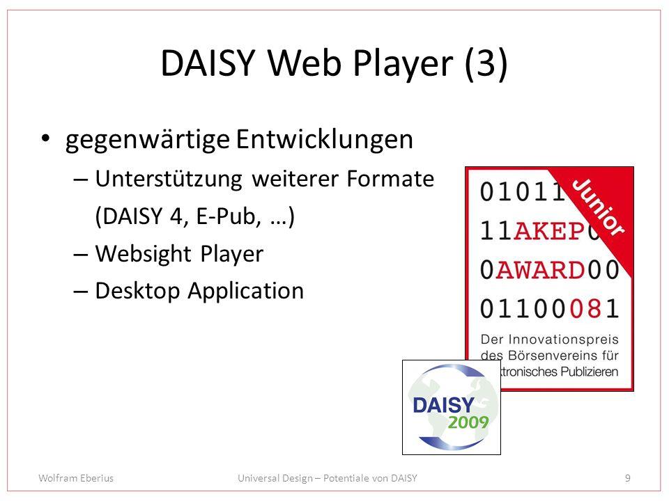Wolfram EberiusUniversal Design – Potentiale von DAISY10 Ideenwerkstatt Bibliotheksbetrieb Online-Vertrieb von eBooks Hardwareintegration in Mobile Devices (Kindle, iPhone…) Points of interest DAISY-Community
