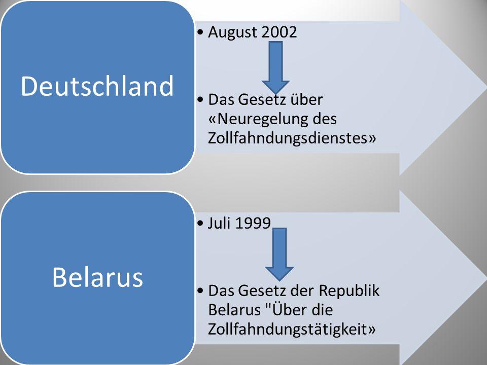 August 2002 Das Gesetz über «Neuregelung des Zollfahndungsdienstes» Deutschland Juli 1999 Das Gesetz der Republik Belarus Über die Zollfahndungstätigkeit» Belarus