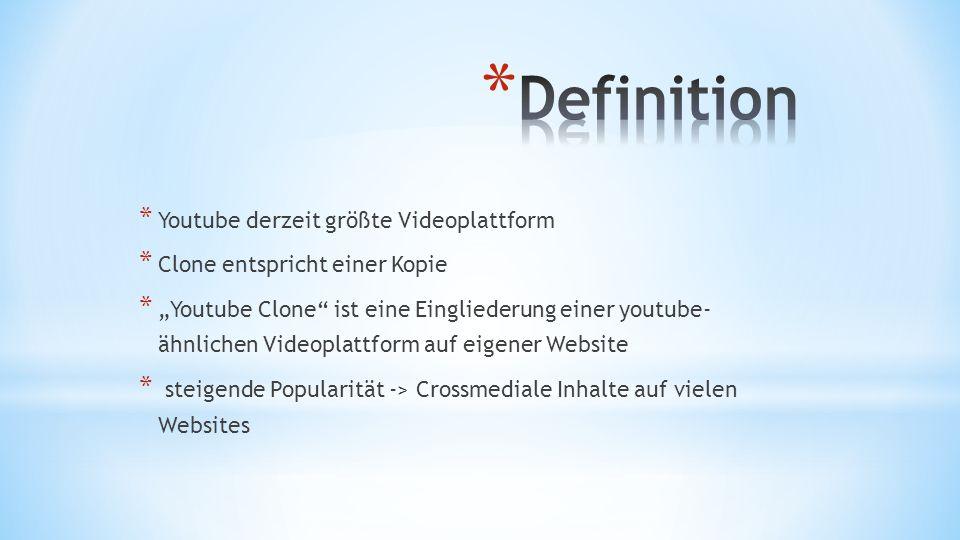 * Youtube derzeit größte Videoplattform * Clone entspricht einer Kopie * Youtube Clone ist eine Eingliederung einer youtube- ähnlichen Videoplattform auf eigener Website * steigende Popularität -> Crossmediale Inhalte auf vielen Websites