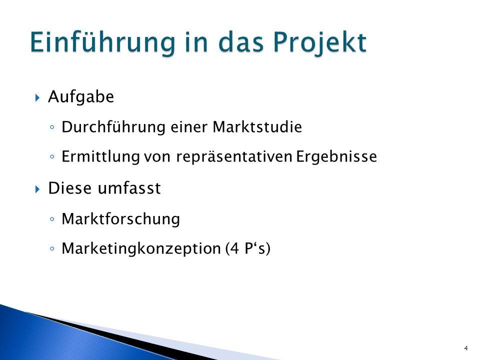 Aufgabe Durchführung einer Marktstudie Ermittlung von repräsentativen Ergebnisse Diese umfasst Marktforschung Marketingkonzeption (4 Ps) 4