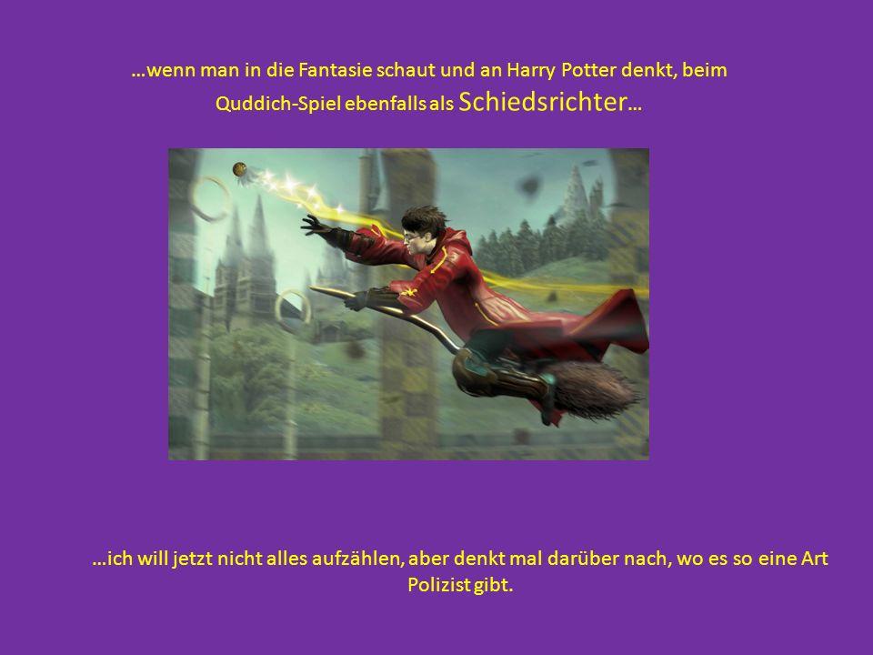…wenn man in die Fantasie schaut und an Harry Potter denkt, beim Quddich-Spiel ebenfalls als Schiedsrichter … …ich will jetzt nicht alles aufzählen, a