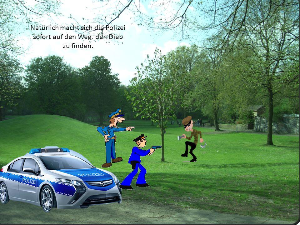 Natürlich macht sich die Polizei sofort auf den Weg, den Dieb zu finden.
