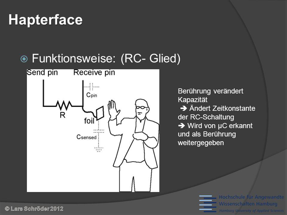 Funktionsweise: (RC- Glied) Hapterface Berührung verändert Kapazität Ändert Zeitkonstante der RC-Schaltung Wird von µC erkannt und als Berührung weitergegeben