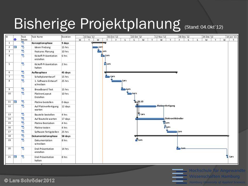 Bisherige Projektplanung (Stand: 04.Okt12)