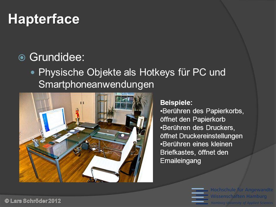Grundidee: Physische Objekte als Hotkeys für PC und Smartphoneanwendungen Hapterface Beispiele: Berühren des Papierkorbs, öffnet den Papierkorb Berühren des Druckers, öffnet Druckereinstellungen Berühren eines kleinen Briefkastes, öffnet den Emaileingang