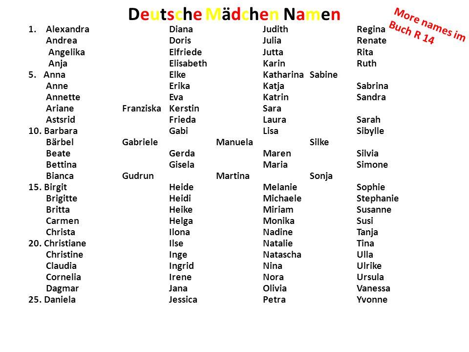 Deutsche Mädchen Namen 1.AlexandraDianaJudithRegina AndreaDorisJuliaRenate AngelikaElfriedeJuttaRita AnjaElisabethKarinRuth 5. AnnaElkeKatharinaSabine