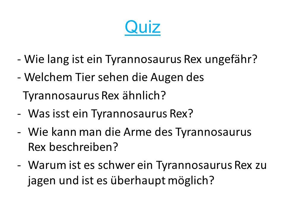 Quiz - Wie lang ist ein Tyrannosaurus Rex ungefähr.