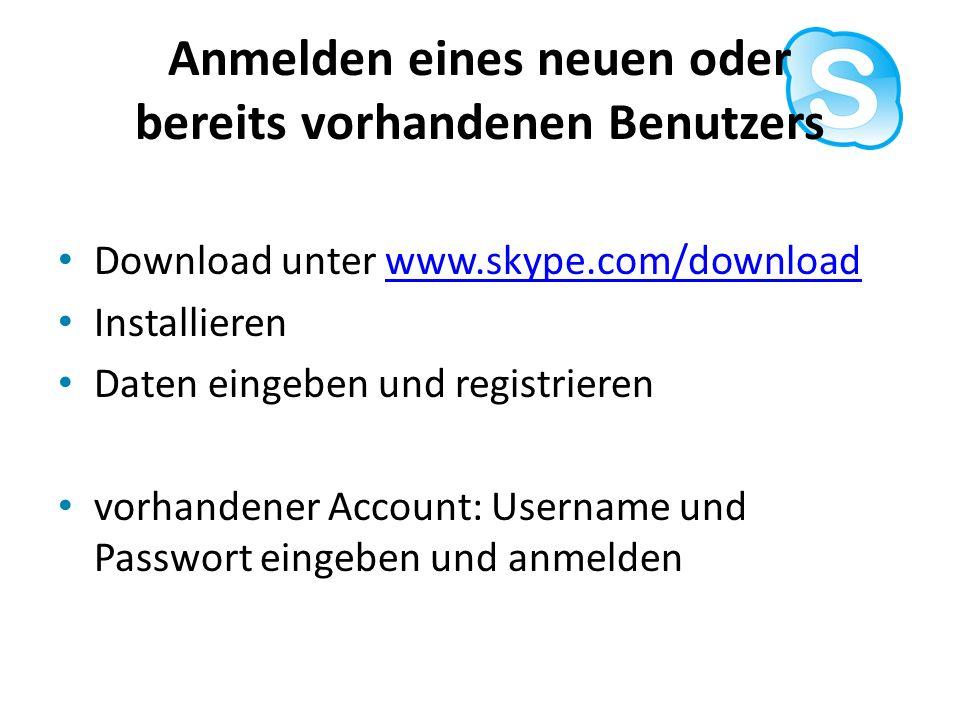 Anmelden eines neuen oder bereits vorhandenen Benutzers Download unter www.skype.com/downloadwww.skype.com/download Installieren Daten eingeben und re