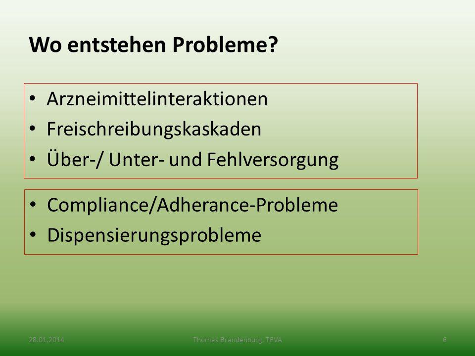 Wo entstehen Probleme? Arzneimittelinteraktionen Freischreibungskaskaden Über-/ Unter- und Fehlversorgung Compliance/Adherance-Probleme Dispensierungs