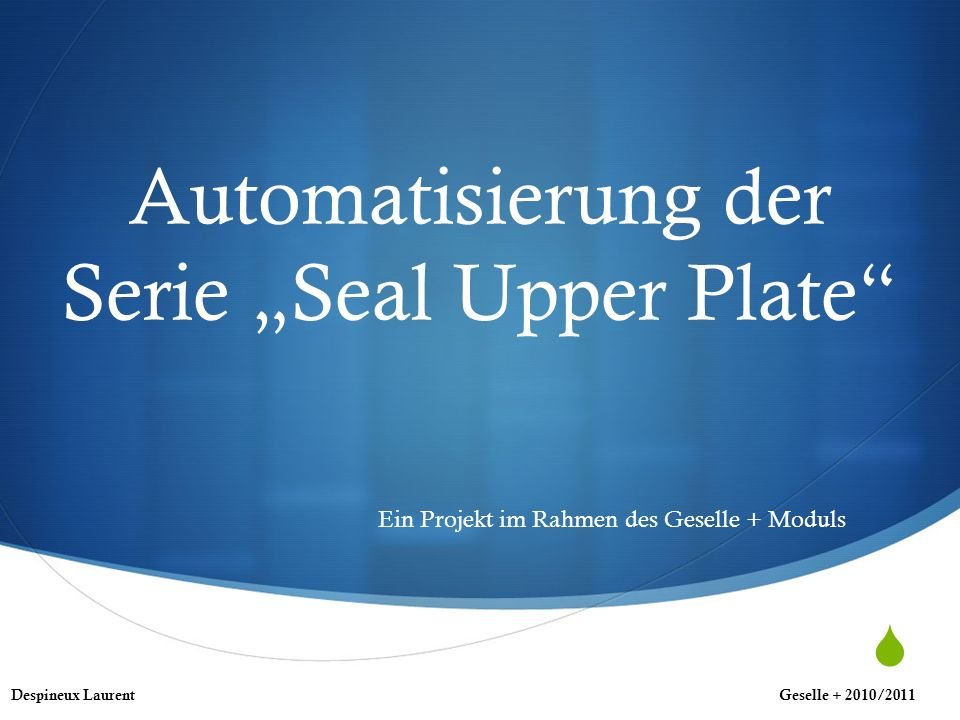 Automatisierung der Serie Seal Upper Plate Ein Projekt im Rahmen des Geselle + Moduls Despineux LaurentGeselle + 2010/2011
