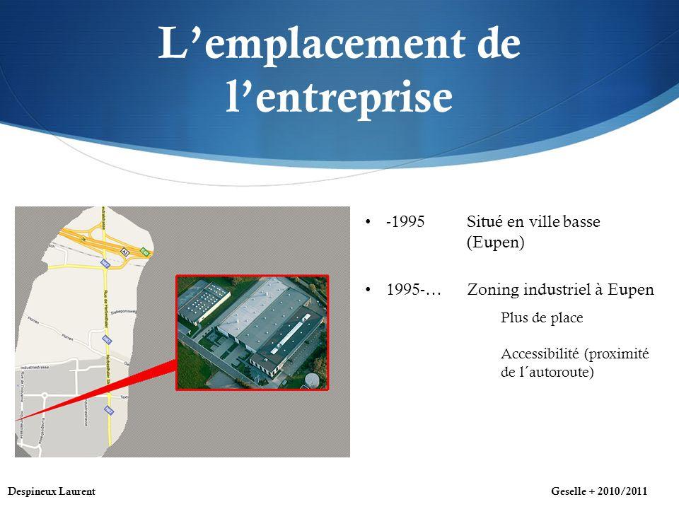 Lemplacement de lentreprise -1995 Situé en ville basse (Eupen) 1995-… Zoning industriel à Eupen Plus de place Accessibilité (proximité de l´autoroute) Despineux LaurentGeselle + 2010/2011