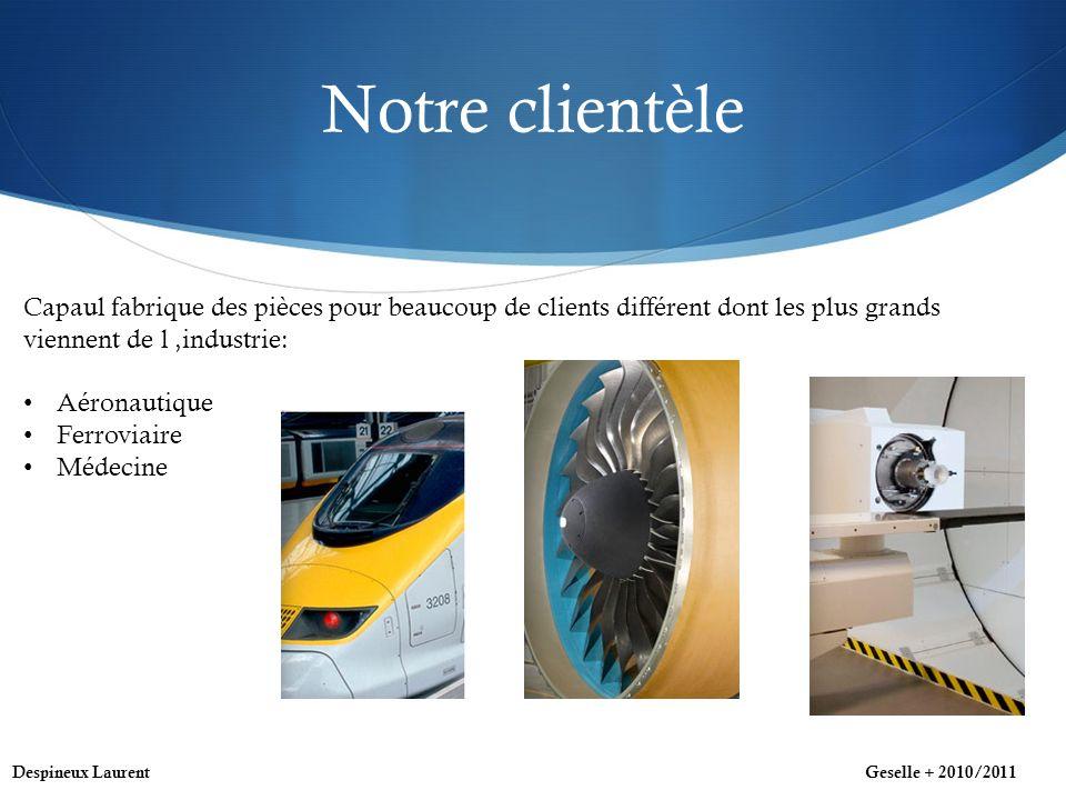Notre clientèle Capaul fabrique des pièces pour beaucoup de clients différent dont les plus grands viennent de l industrie: Aéronautique Ferroviaire Médecine Despineux LaurentGeselle + 2010/2011