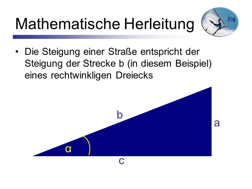 Mathematische Herleitung Die Steigung einer Straße entspricht der Steigung der Strecke b (in diesem Beispiel) eines rechtwinkligen Dreiecks α a b c
