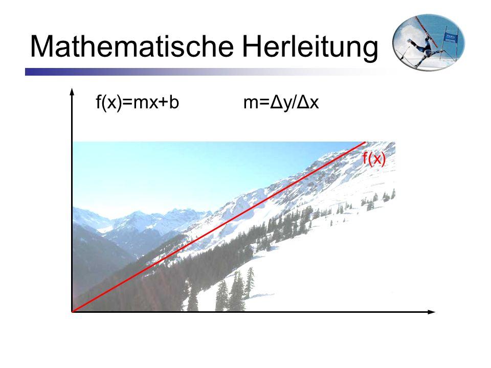 Mathematische Herleitung f(x)=mx+bm=Δy/Δx f(x)
