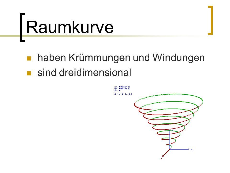 Raumkurve haben Krümmungen und Windungen sind dreidimensional