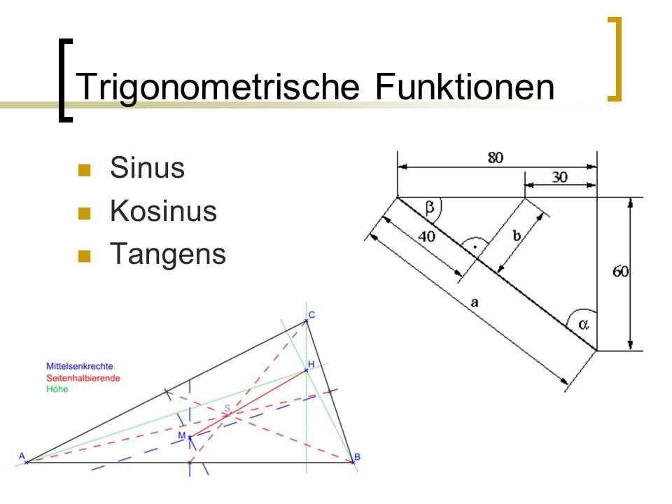 Trigonometrische Funktionen Sinus Kosinus Tangens