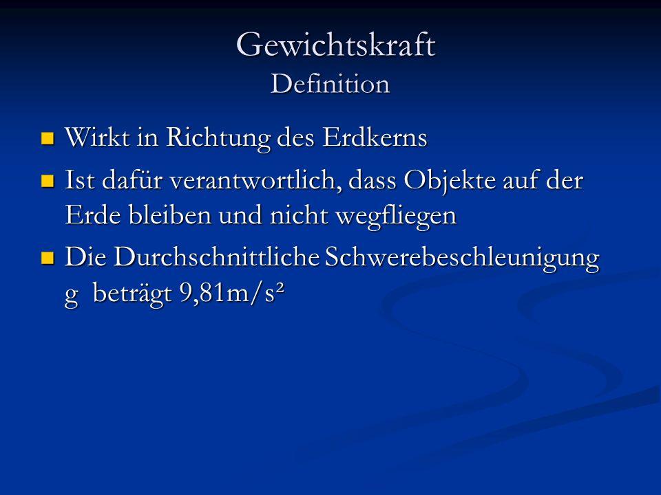 Gewichtskraft Definition Gewichtskraft Definition Wirkt in Richtung des Erdkerns Wirkt in Richtung des Erdkerns Ist dafür verantwortlich, dass Objekte auf der Erde bleiben und nicht wegfliegen Ist dafür verantwortlich, dass Objekte auf der Erde bleiben und nicht wegfliegen Die Durchschnittliche Schwerebeschleunigung g beträgt 9,81m/s² Die Durchschnittliche Schwerebeschleunigung g beträgt 9,81m/s²