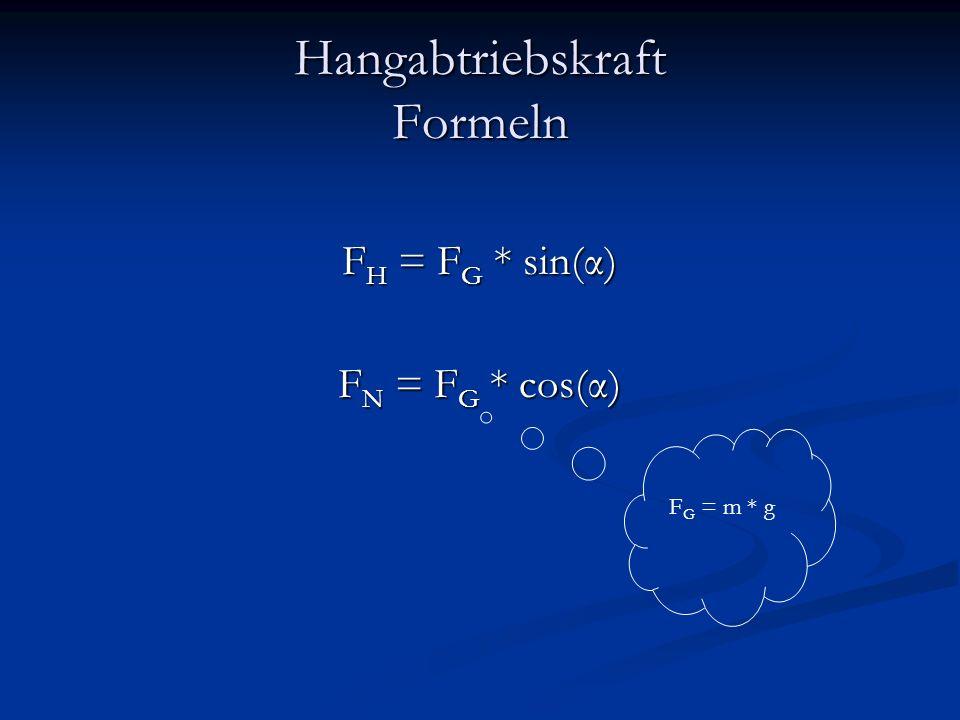 Hangabtriebskraft Formeln F H = F G * sin(α) F N = F G * cos(α) F G = m * g