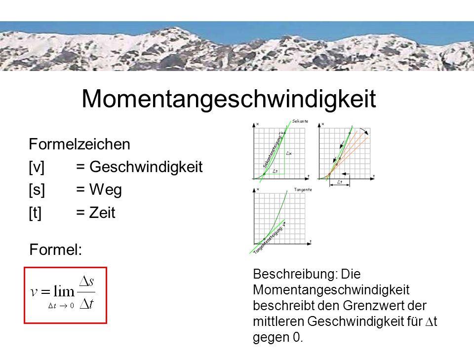 Momentangeschwindigkeit Beschreibung: Die Momentangeschwindigkeit beschreibt den Grenzwert der mittleren Geschwindigkeit für t gegen 0. Momentangeschw