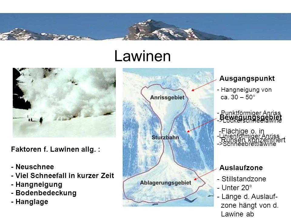 Lawinen Auslaufzone - Hangneigung von ca. 30 – 50° - Punktförmiger Anriss ->Lockerschneelawine -Linienförmiger Anriss ->Schneebrettlawine Ausgangspunk