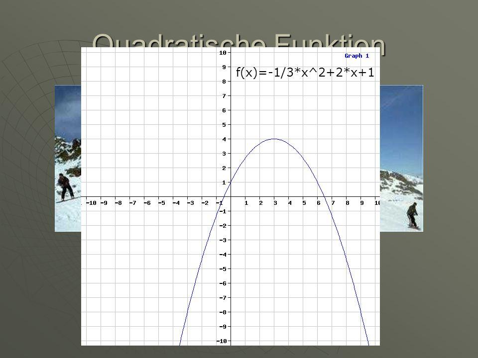 Quadratische Funktion Parabelförmig f(x)=-1/3*x^2+2*x+1