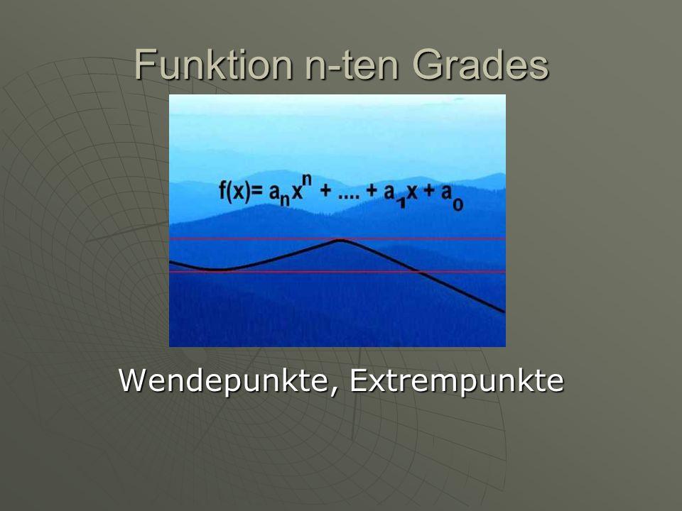 Rechenbeispiel f(x)= x³+2x²-4x+6 f(x)= x³+2x²-4x+6 f´(x)= 3x²+4x-4 f´(x)= 3x²+4x-4 f´´(x)=12x+4 f´´(x)=12x+4Extremstellen: f´(x)=01.Fall: x=-2 2.Fall: x= 0,66 Wendepunkte: f´´(x)=0 x=-0,33