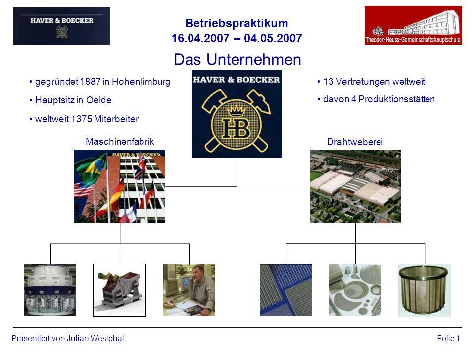 Betriebspraktikum 16.04.2007 – 04.05.2007 Präsentiert von Julian WestphalFolie 1 Das Unternehmen gegründet 1887 in Hohenlimburg Hauptsitz in Oelde wel