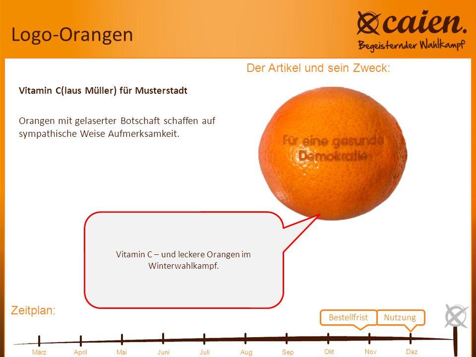 Zeitplan: Der Artikel und sein Zweck: MärzAprilMai JuniJuliAugSep OktNovDez Logo-Orangen Vitamin C(laus Müller) für Musterstadt Orangen mit gelaserter Botschaft schaffen auf sympathische Weise Aufmerksamkeit.