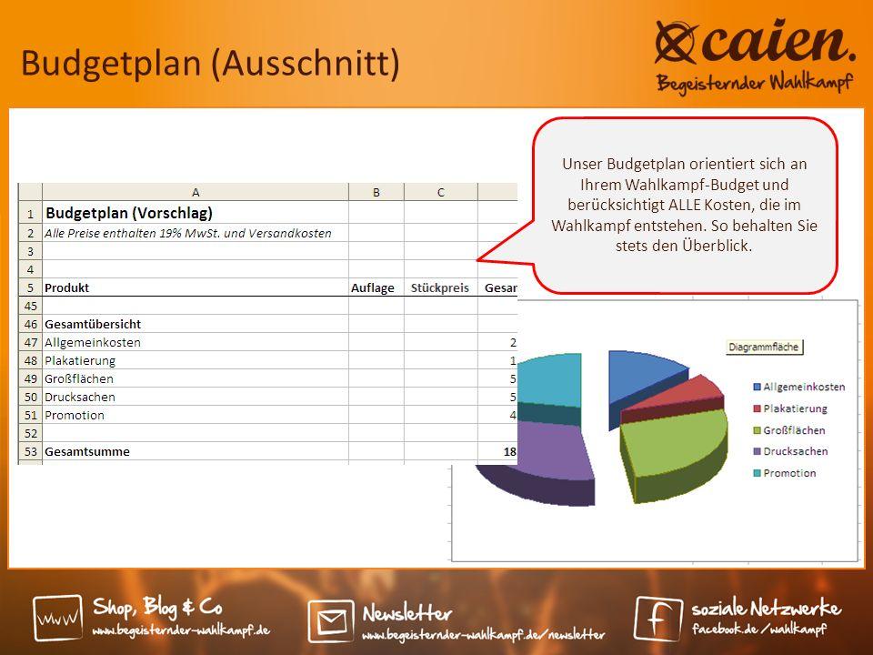 Budgetplan (Ausschnitt) Unser Budgetplan orientiert sich an Ihrem Wahlkampf-Budget und berücksichtigt ALLE Kosten, die im Wahlkampf entstehen.