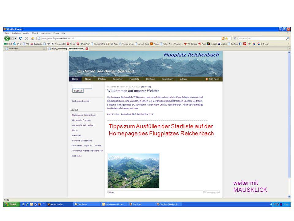 Tipps zum Ausfüllen der Startliste auf der Homepage des Flugplatzes Reichenbach weiter mit MAUSKLICK