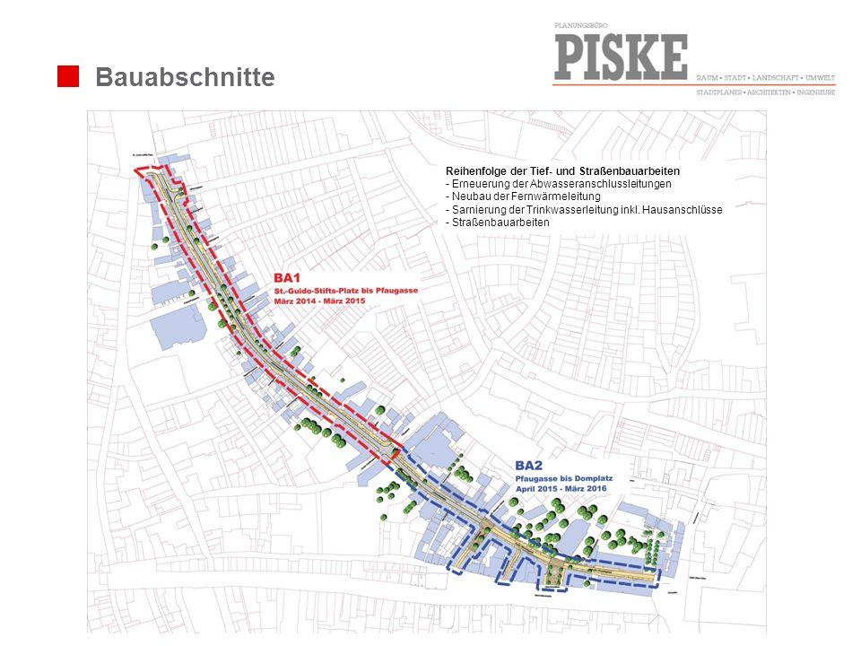 Bauabschnitte Reihenfolge der Tief- und Straßenbauarbeiten - Erneuerung der Abwasseranschlussleitungen - Neubau der Fernwärmeleitung - Sarnierung der