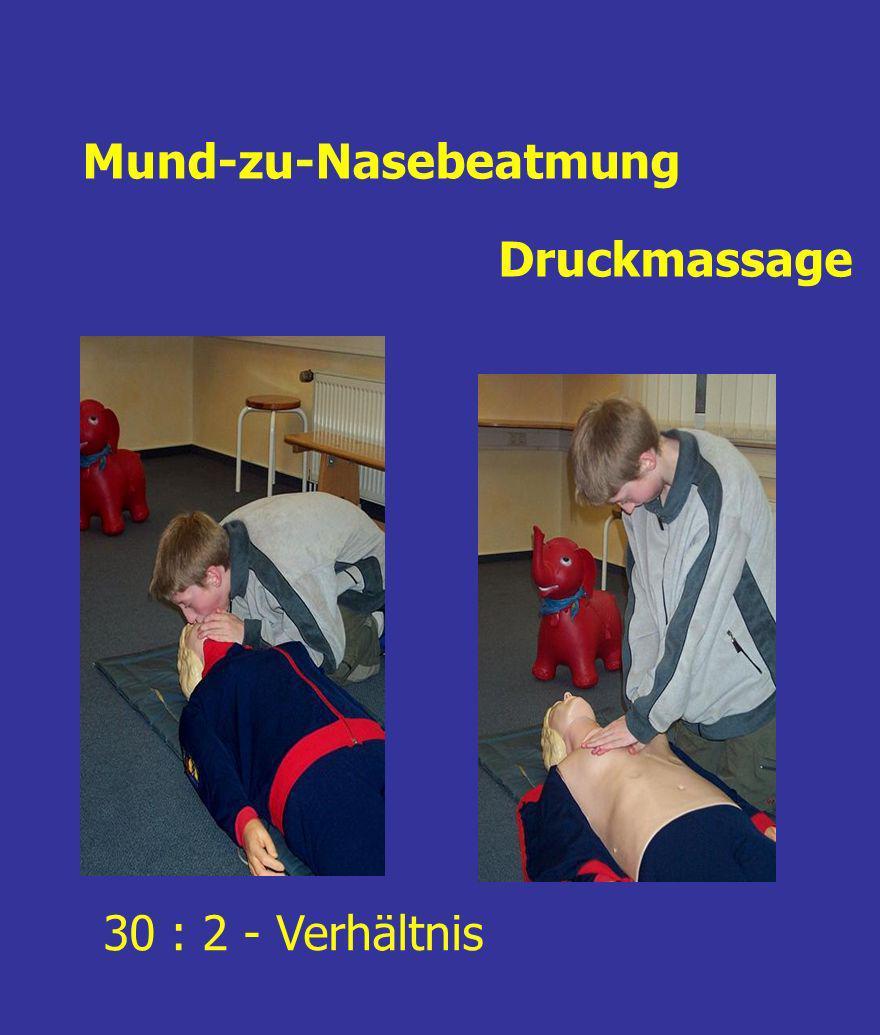 Mund-zu-Nasebeatmung Druckmassage 30 : 2 - Verhältnis