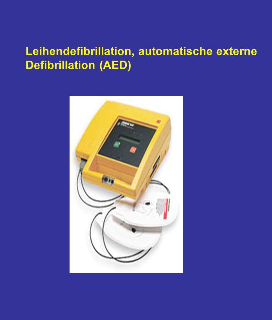Leihendefibrillation, automatische externe Defibrillation (AED)