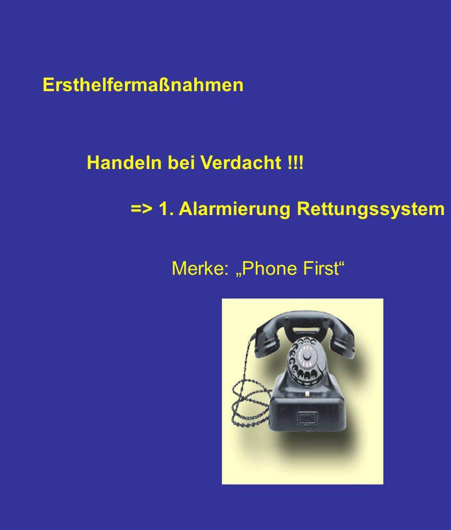 Ersthelfermaßnahmen Handeln bei Verdacht !!! => 1. Alarmierung Rettungssystem Merke: Phone First