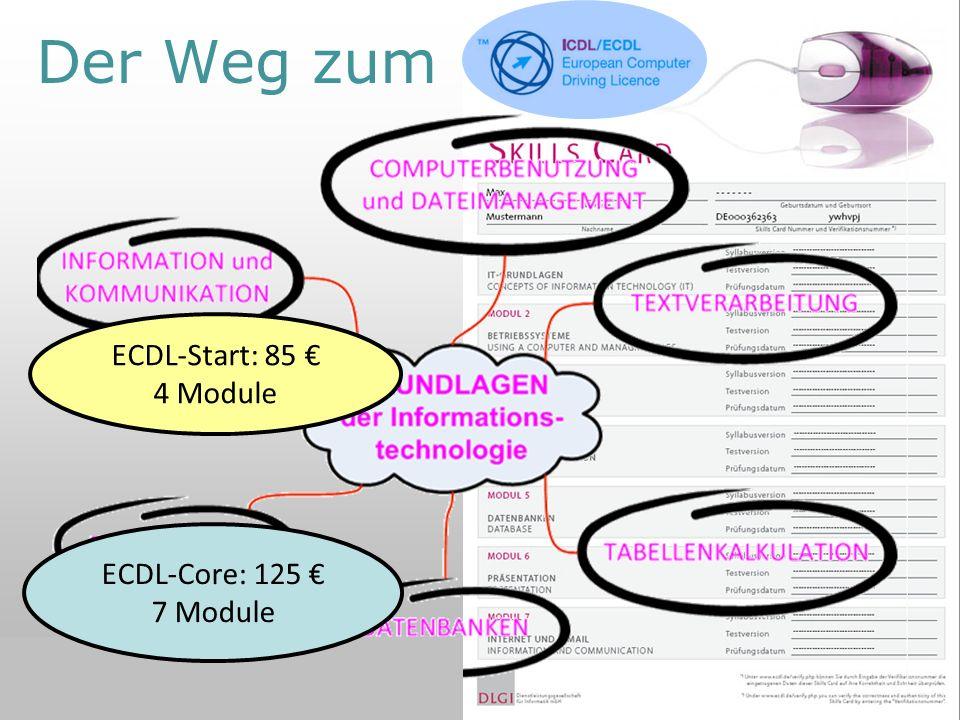 10.06.2010Wolfgang Sobiraj 4 Der Weg zum ECDL ECDL-Start: 85 4 Module ECDL-Core: 125 7 Module