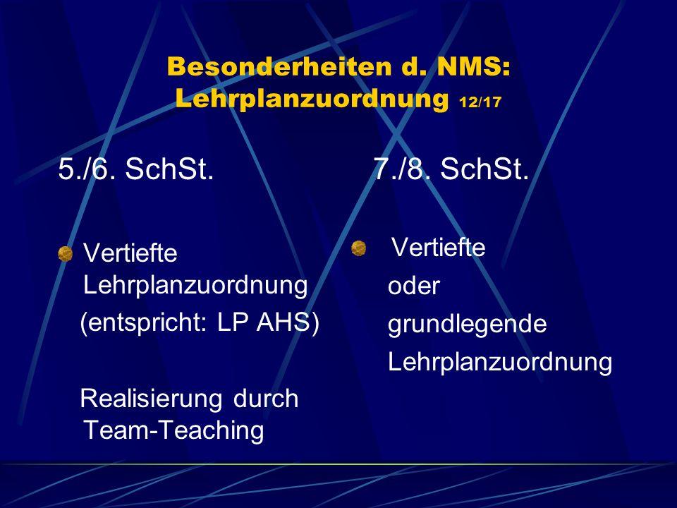 Besonderheiten d. NMS: Lehrplanzuordnung 12/17 5./6. SchSt. Vertiefte Lehrplanzuordnung (entspricht: LP AHS) Realisierung durch Team-Teaching 7./8. Sc