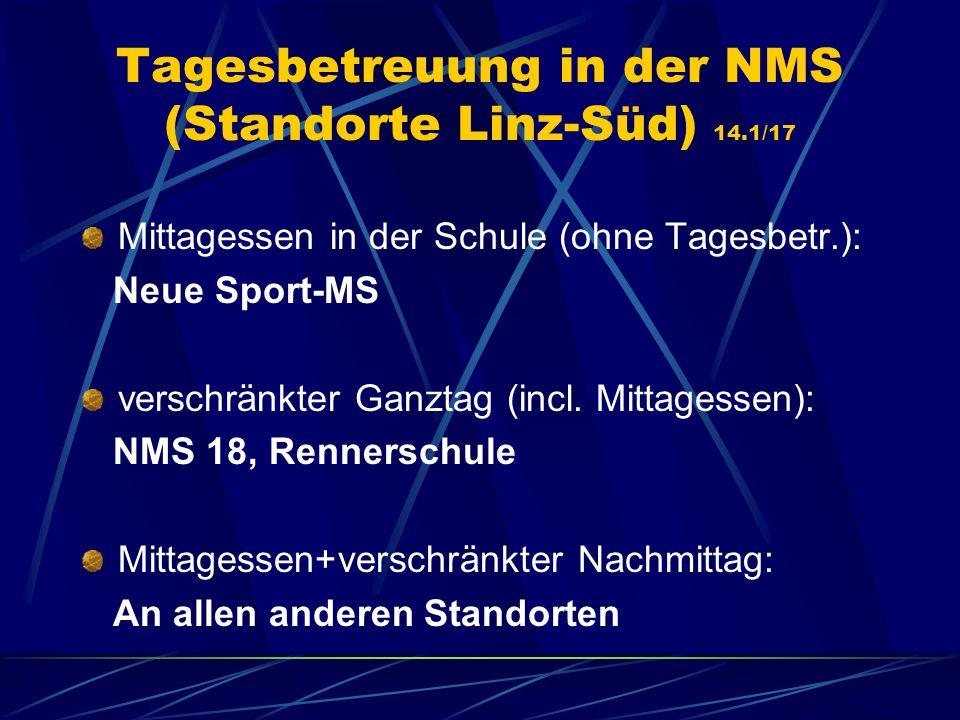 Tagesbetreuung in der NMS (Standorte Linz-Süd) 14.1/17 Mittagessen in der Schule (ohne Tagesbetr.): Neue Sport-MS verschränkter Ganztag (incl. Mittage