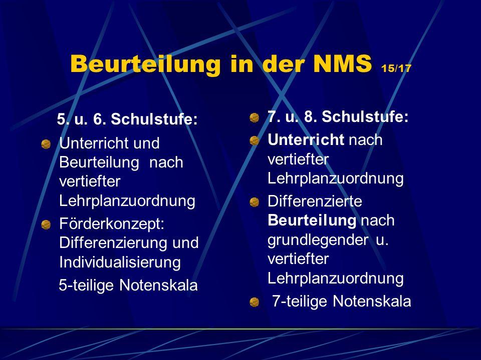Beurteilung in der NMS 15/17 5. u. 6. Schulstufe: Unterricht und Beurteilung nach vertiefter Lehrplanzuordnung Förderkonzept: Differenzierung und Indi