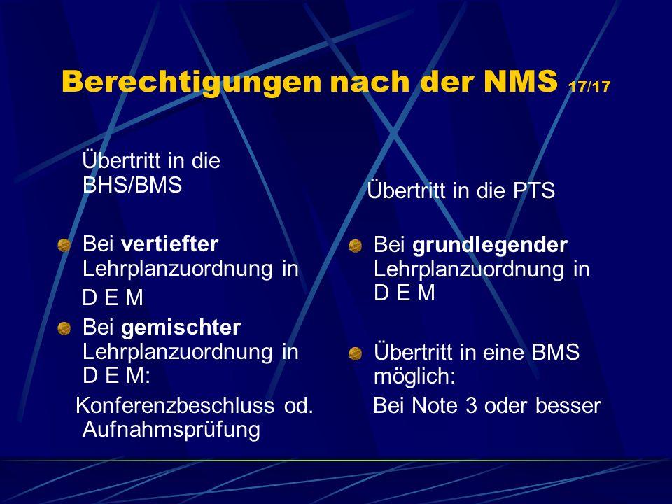 Berechtigungen nach der NMS 17/17 Übertritt in die BHS/BMS Bei vertiefter Lehrplanzuordnung in D E M Bei gemischter Lehrplanzuordnung in D E M: Konfer