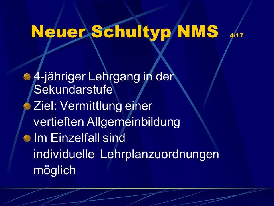 Neuer Schultyp NMS 4/17 4-jähriger Lehrgang in der Sekundarstufe Ziel: Vermittlung einer vertieften Allgemeinbildung Im Einzelfall sind individuelle L
